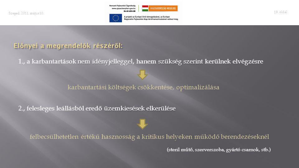 . oldal 19 Szeged, 2011. május 10. nem idényjelleggelszükség szerint 1., a karbantartások nem idényjelleggel, hanem szükség szerint kerülnek elvégzésr
