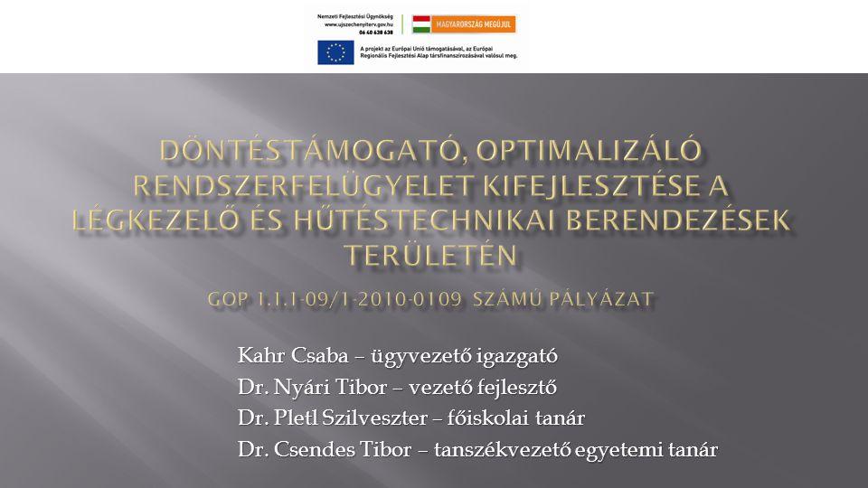 Kahr Csaba – ügyvezető igazgató Dr.Nyári Tibor – vezető fejlesztő Dr.