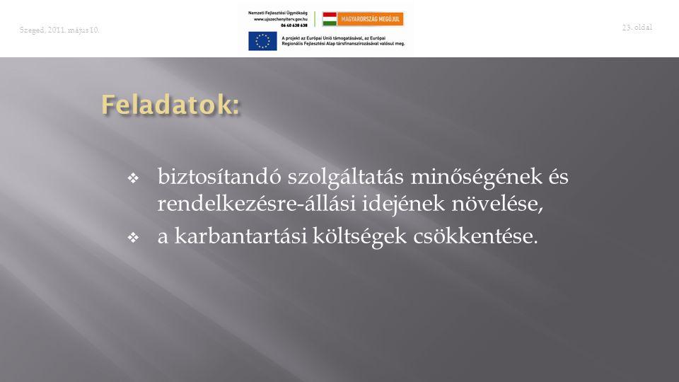 . oldal 23 Szeged, 2011. május 10.  biztosítandó szolgáltatás minőségének és rendelkezésre-állási idejének növelése,  a karbantartási költségek csök