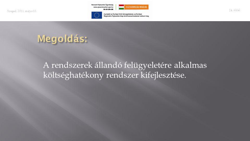 . oldal 24 Szeged, 2011. május 10. A rendszerek állandó felügyeletére alkalmas költséghatékony rendszer kifejlesztése.