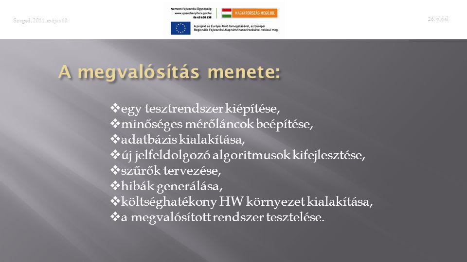 . oldal 26 Szeged, 2011. május 10.  egy tesztrendszer kiépítése,  minőséges mérőláncok beépítése,  adatbázis kialakítása,  új jelfeldolgozó algori