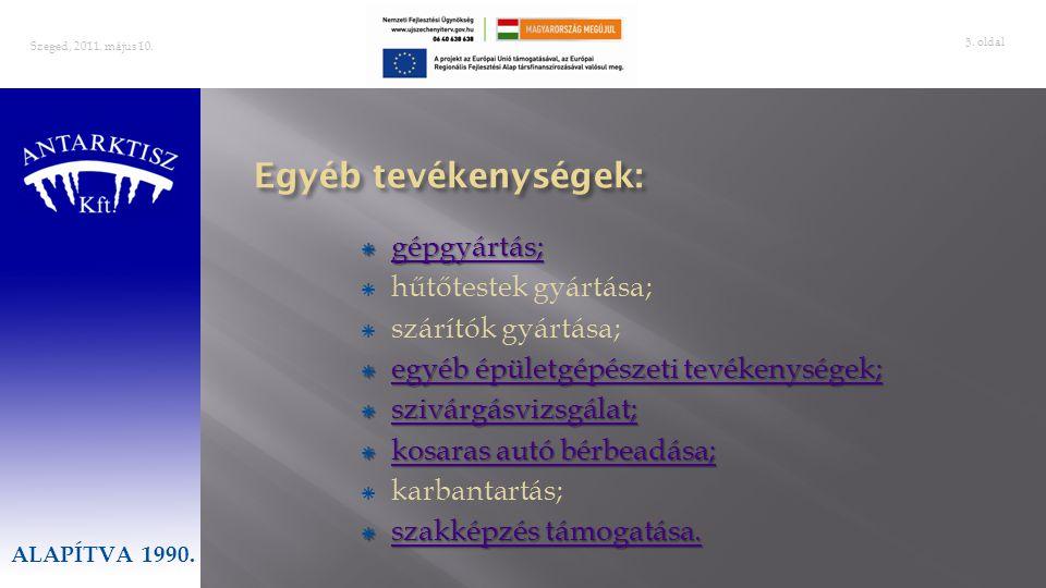 oldal 16 Szeged, 2011.május 10. Innogrant Consulting Kft GOPNemzeti Fejlesztési Ügynökség 2010.