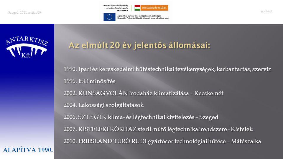 . oldal 6 Szeged, 2011. május 10. ALAPÍTVA 1990. 1990. Ipari és kereskedelmi hűtéstechnikai tevékenységek, karbantartás, szerviz 1996. ISO minősítés 2
