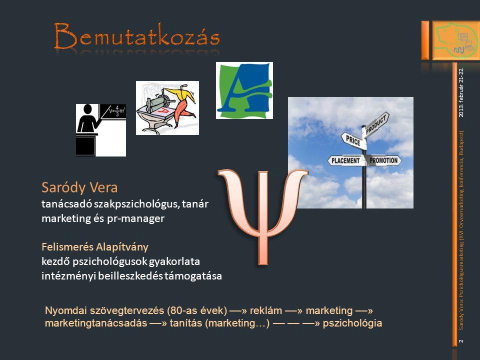 Nyomdai szövegtervezés (80-as évek) ––» reklám ––» marketing ––» marketingtanácsadás ––» tanítás (marketing…) –– –– ––» pszichológia 2 2013.