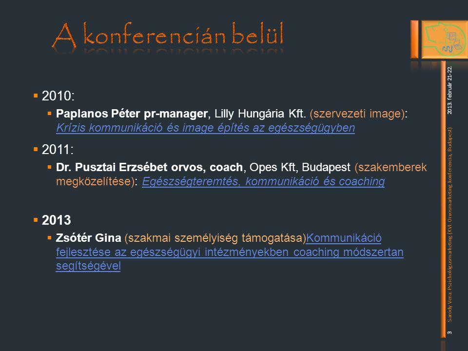  2010:  Paplanos Péter pr-manager, Lilly Hungária Kft.