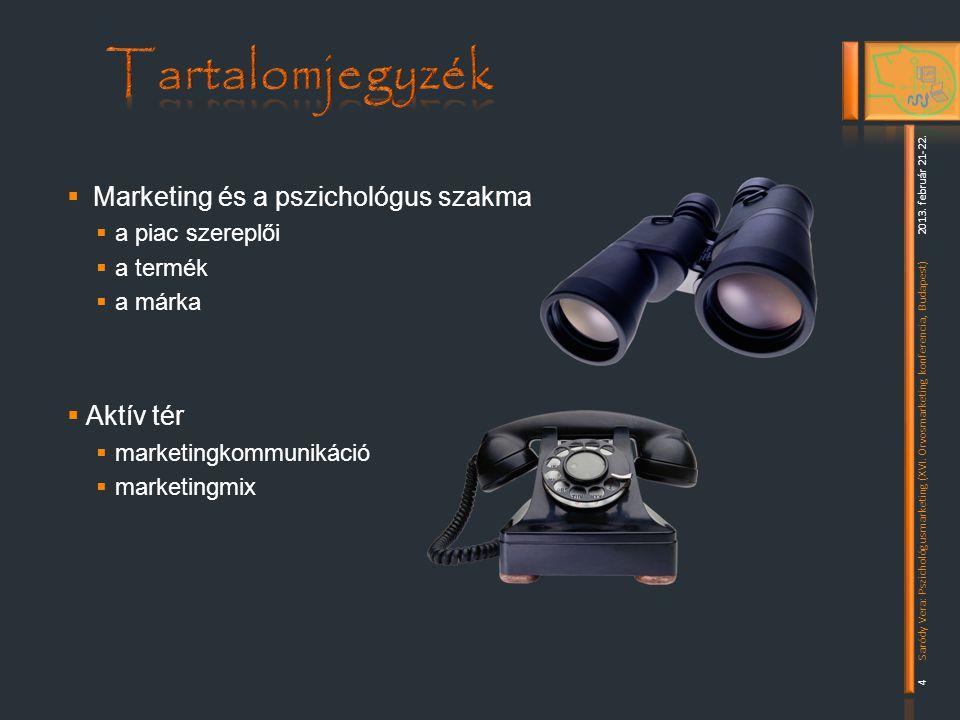  Marketing és a pszichológus szakma  a piac szereplői  a termék  a márka  Aktív tér  marketingkommunikáció  marketingmix 2013.