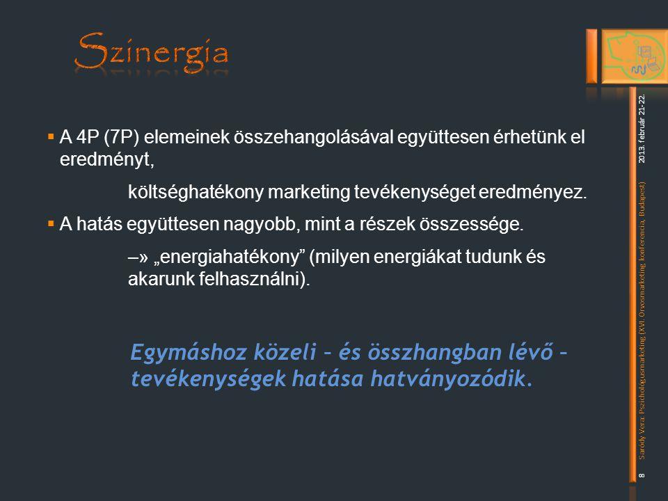  A 4P (7P) elemeinek összehangolásával együttesen érhetünk el eredményt, költséghatékony marketing tevékenységet eredményez.