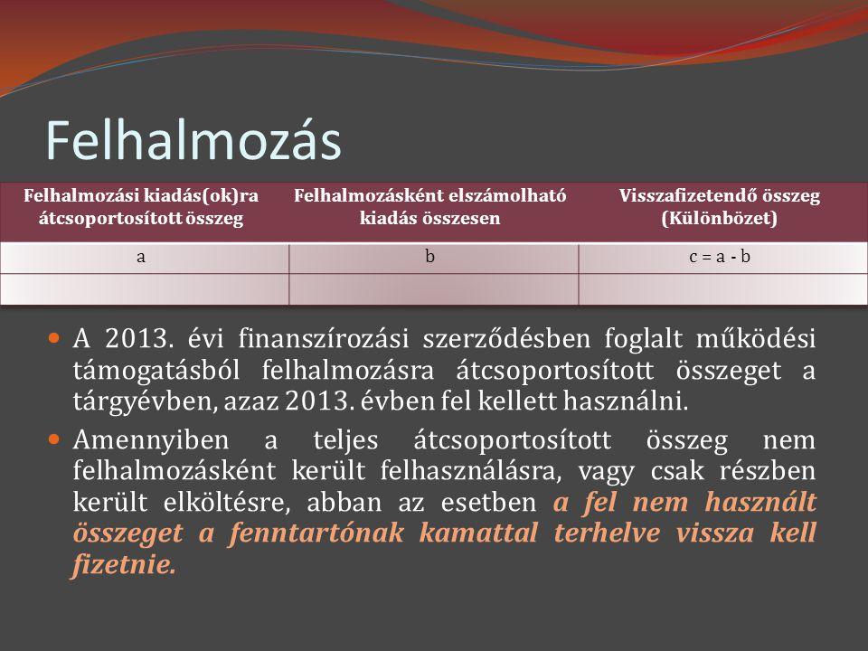 Felhalmozás  A 2013. évi finanszírozási szerződésben foglalt működési támogatásból felhalmozásra átcsoportosított összeget a tárgyévben, azaz 2013. é