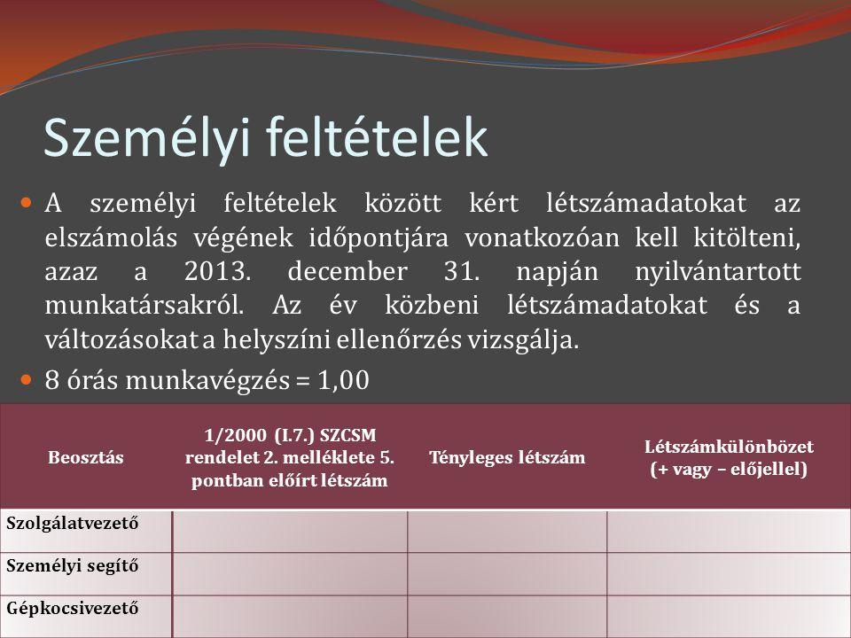 Személyi feltételek  A személyi feltételek között kért létszámadatokat az elszámolás végének időpontjára vonatkozóan kell kitölteni, azaz a 2013. dec