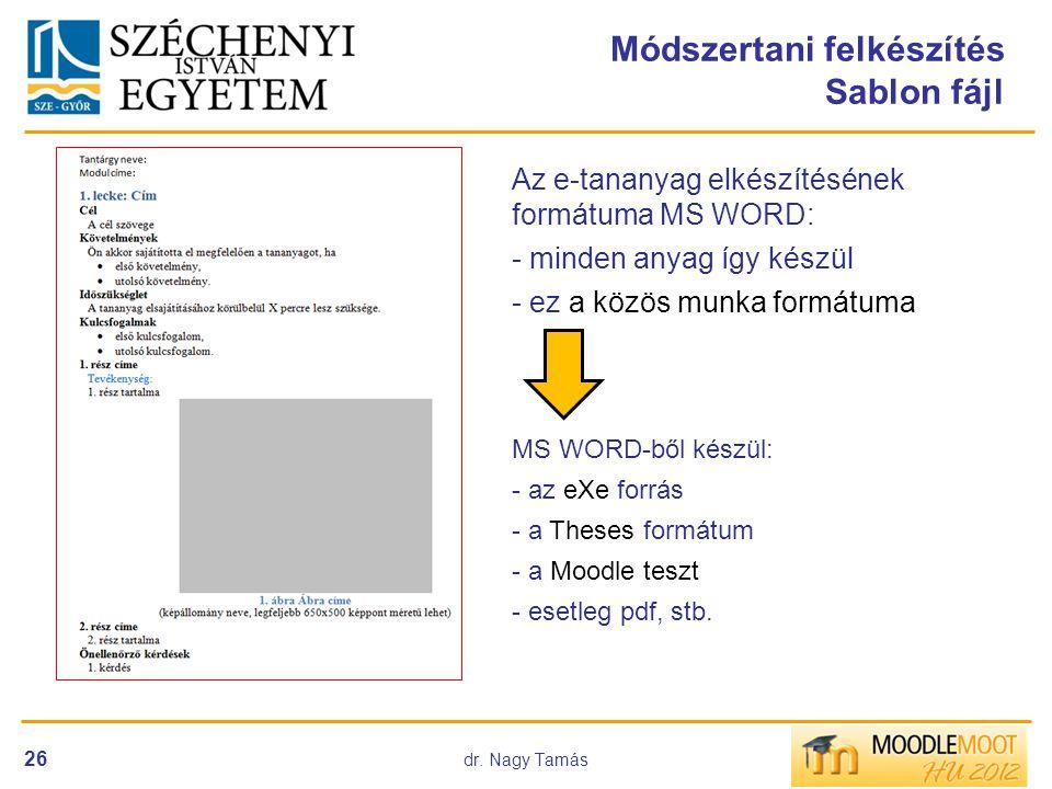 dr. Nagy Tamás 26 Módszertani felkészítés Sablon fájl Az e-tananyag elkészítésének formátuma MS WORD: - minden anyag így készül - ez a közös munka for