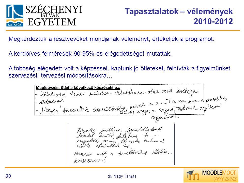 dr. Nagy Tamás 30 Tapasztalatok – vélemények 2010-2012 Megkérdeztük a résztvevőket mondjanak véleményt, értékeljék a programot: A kérdőíves felmérések