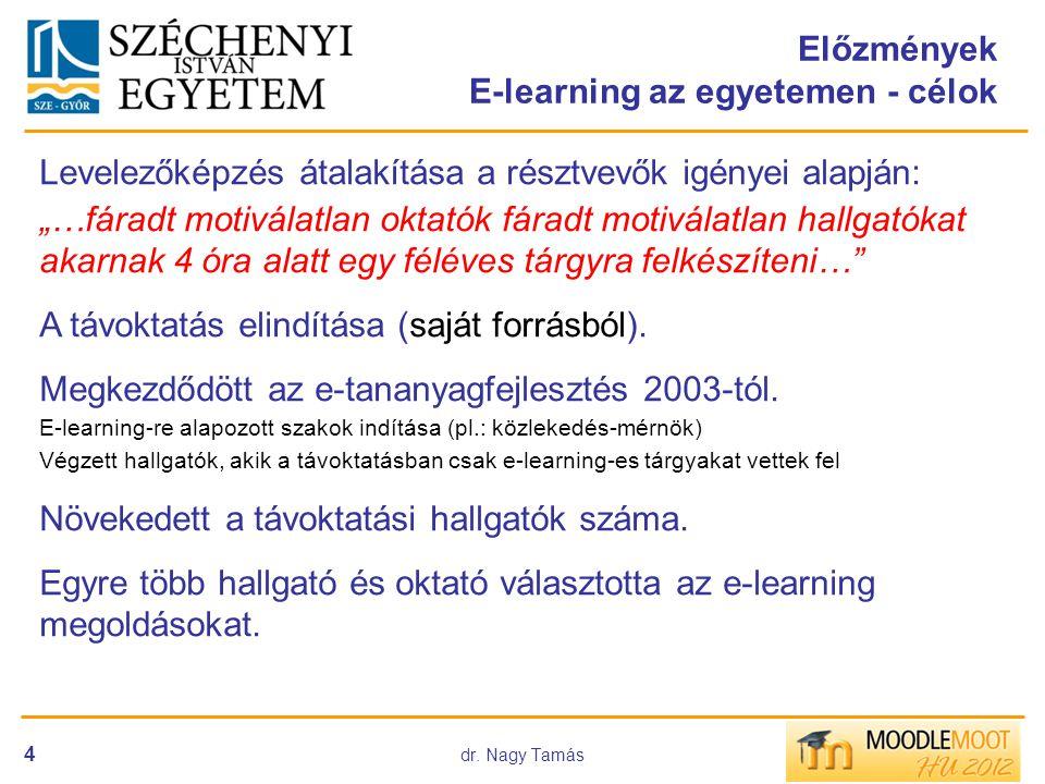 """dr. Nagy Tamás 4 Előzmények E-learning az egyetemen - célok Levelezőképzés átalakítása a résztvevők igényei alapján: """"…fáradt motiválatlan oktatók fár"""