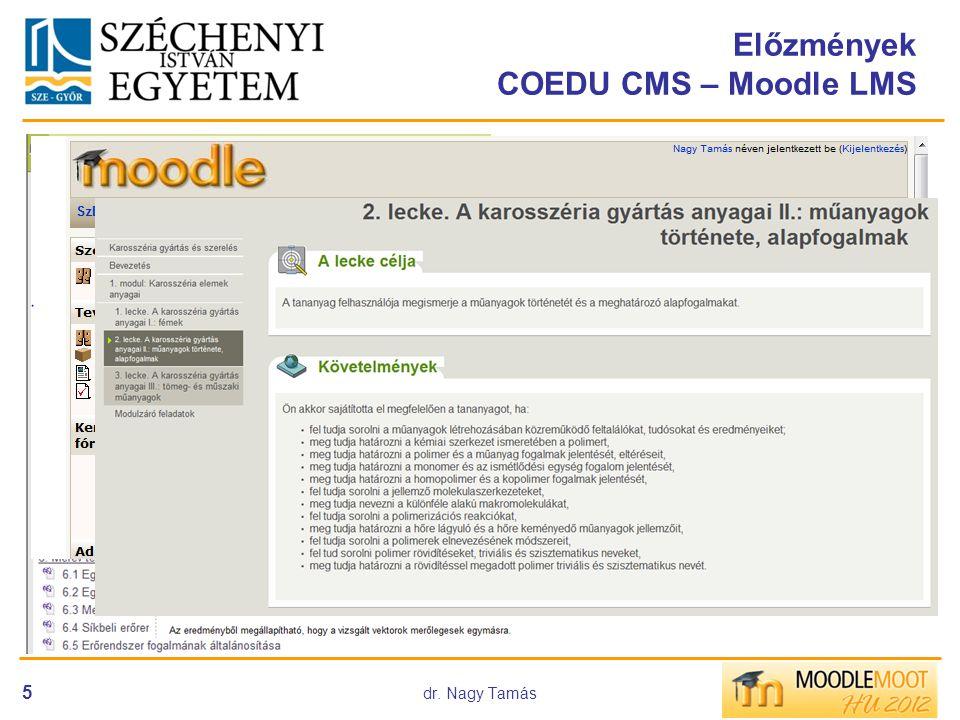 dr. Nagy Tamás 5 Előzmények COEDU CMS – Moodle LMS COEDU rendszer bevezetése 2003-tól •e-learning fejlesztés •300 db-ot meghaladó Coedus e-tartalom ké