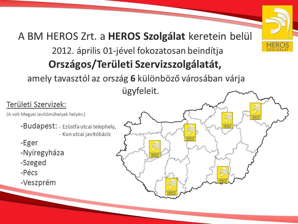 A BM HEROS Zrt. a HEROS Szolgálat keretein belül 2012. április 01-jével fokozatosan beindítja Országos/Területi Szervizszolgálatát, amely tavasztól az