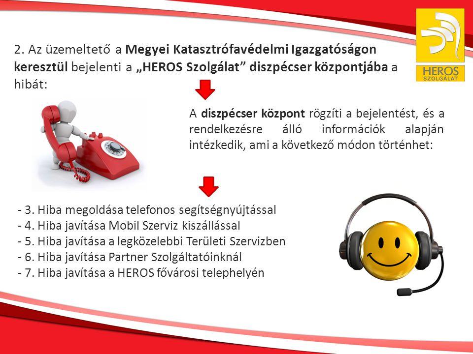 """2. Az üzemeltető a Megyei Katasztrófavédelmi Igazgatóságon keresztül bejelenti a """"HEROS Szolgálat"""" diszpécser központjába a hibát: A diszpécser közpon"""