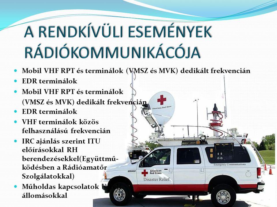  Mobil VHF RPT és terminálok (VMSZ és MVK) dedikált frekvencián  EDR terminálok  Mobil VHF RPT és terminálok (VMSZ és MVK) dedikált frekvencián  E