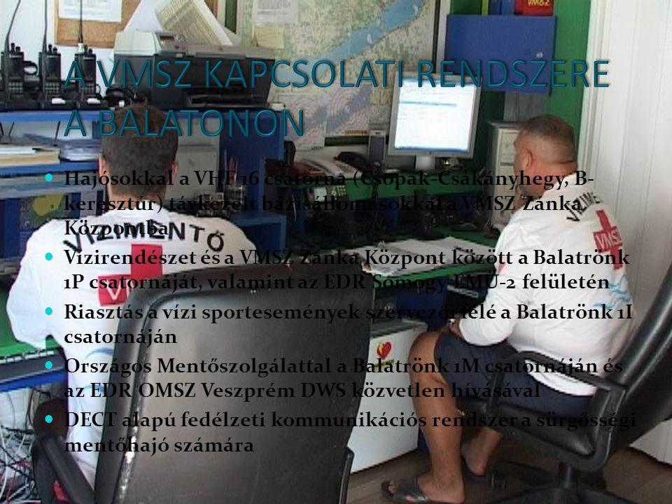  Hajósokkal a VHF 16 csatorna (Csopak-Csákányhegy, B- keresztúr) távkezelt bázisállomásokkal a VMSZ Zánka Központba  Vízirendészet és a VMSZ Zánka K