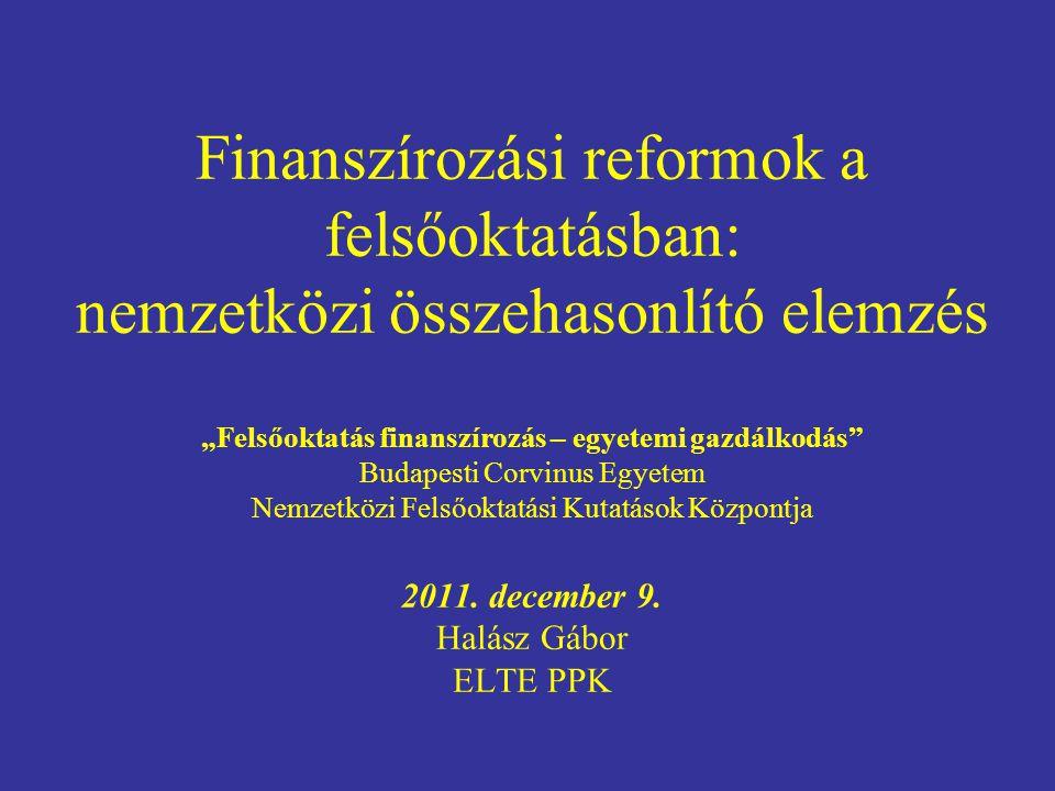 """Finanszírozási reformok a felsőoktatásban: nemzetközi összehasonlító elemzés """"Felsőoktatás finanszírozás – egyetemi gazdálkodás"""" Budapesti Corvinus Eg"""
