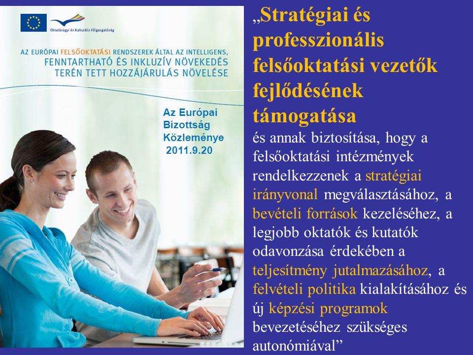 """"""" Stratégiai és professzionális felsőoktatási vezetők fejlődésének támogatása és annak biztosítása, hogy a felsőoktatási intézmények rendelkezzenek a"""