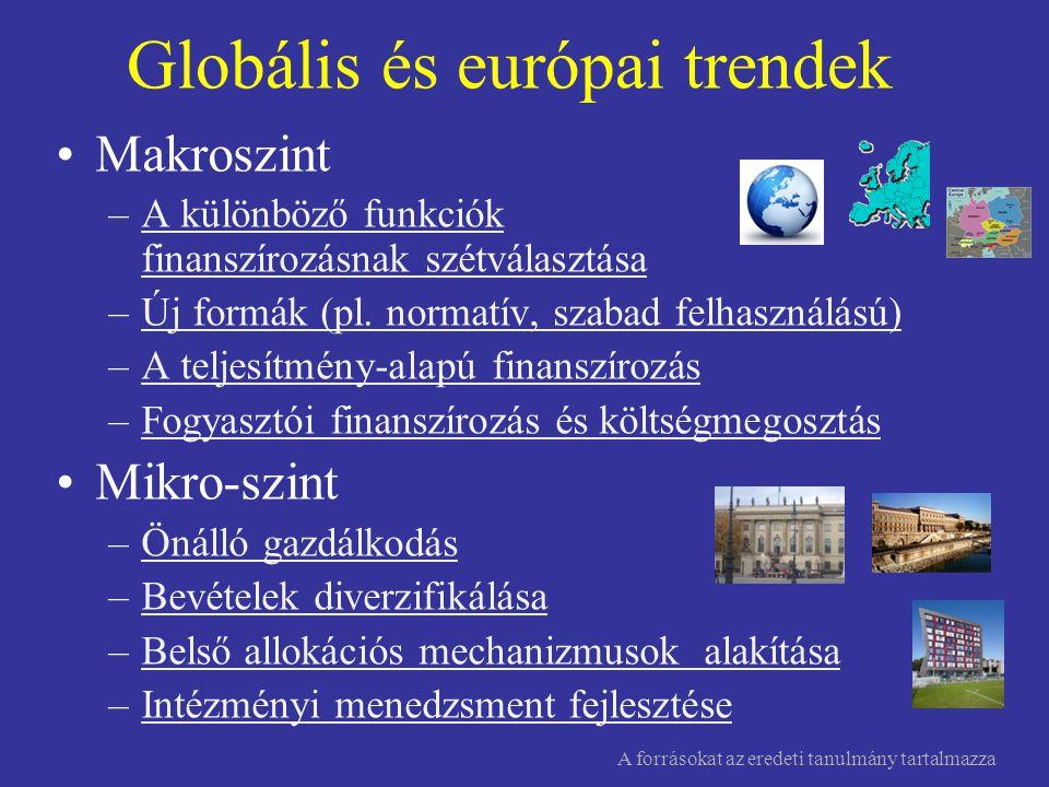 Globális és európai trendek •Makroszint –A különböző funkciók finanszírozásnak szétválasztásaA különböző funkciók finanszírozásnak szétválasztása –Új