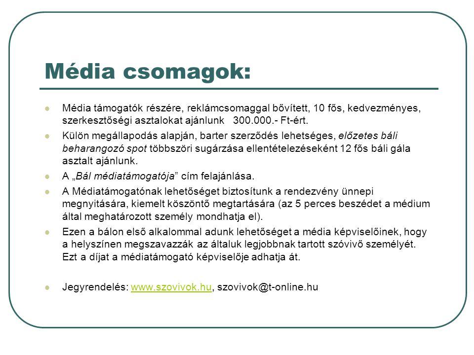 Média csomagok:  Média támogatók részére, reklámcsomaggal bővített, 10 fős, kedvezményes, szerkesztőségi asztalokat ajánlunk 300.000.- Ft-ért.
