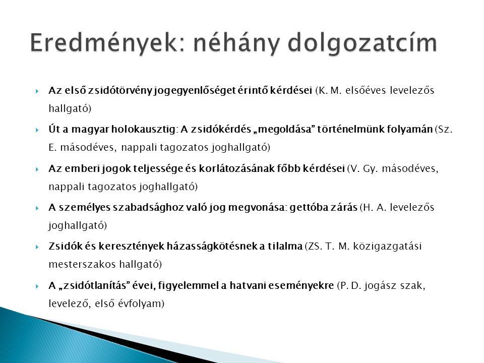 """ Az első zsidótörvény jogegyenlőséget érintő kérdései (K. M. elsőéves levelezős hallgató)  Út a magyar holokausztig: A zsidókérdés """"megoldása"""" törté"""