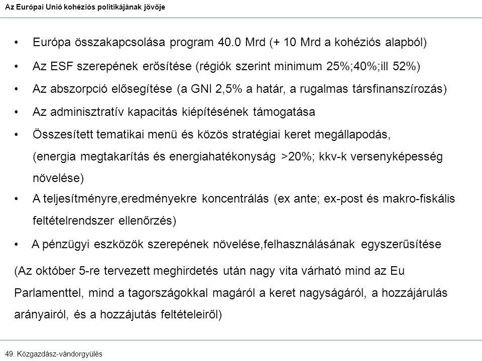 Az Európai Unió kohéziós politikájának jövője 49.