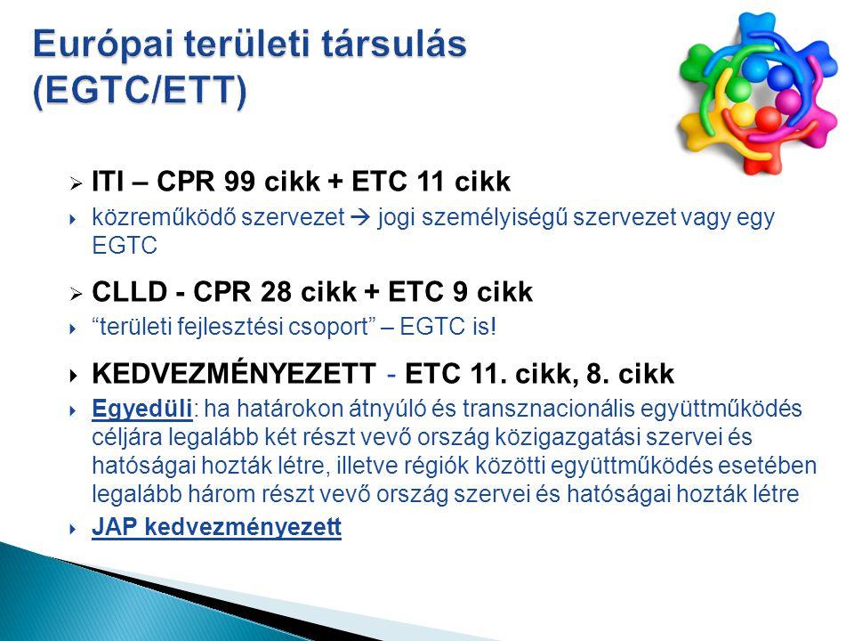  ITI – CPR 99 cikk + ETC 11 cikk  közreműködő szervezet  jogi személyiségű szervezet vagy egy EGTC  CLLD - CPR 28 cikk + ETC 9 cikk  területi fejlesztési csoport – EGTC is.