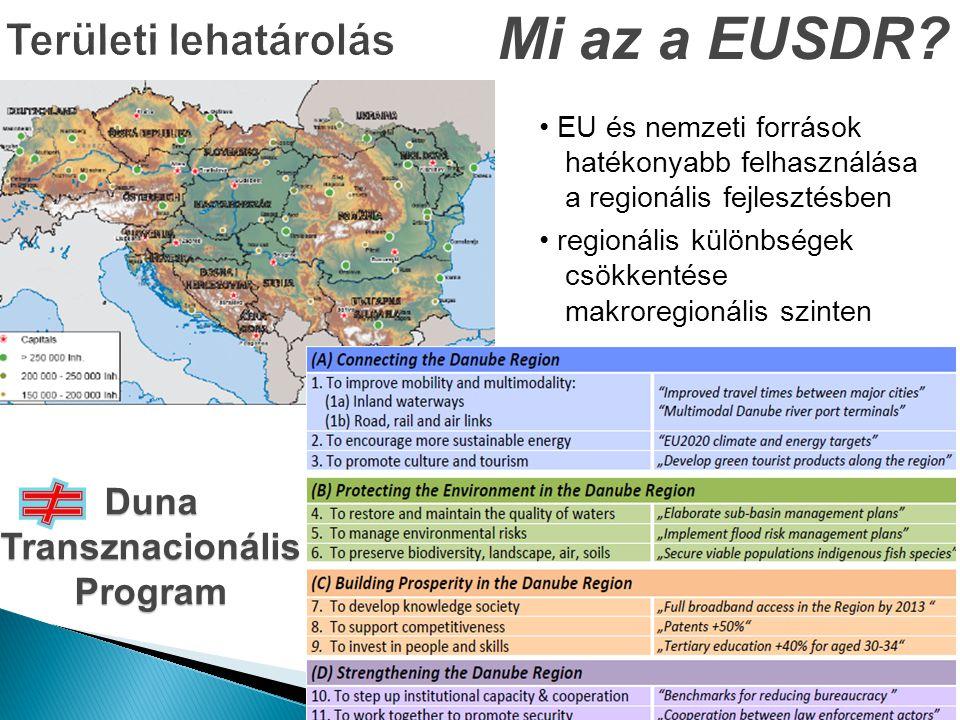 Mi az a EUSDR? Duna Transznacionális Program • EU és nemzeti források hatékonyabb felhasználása a regionális fejlesztésben • regionális különbségek cs