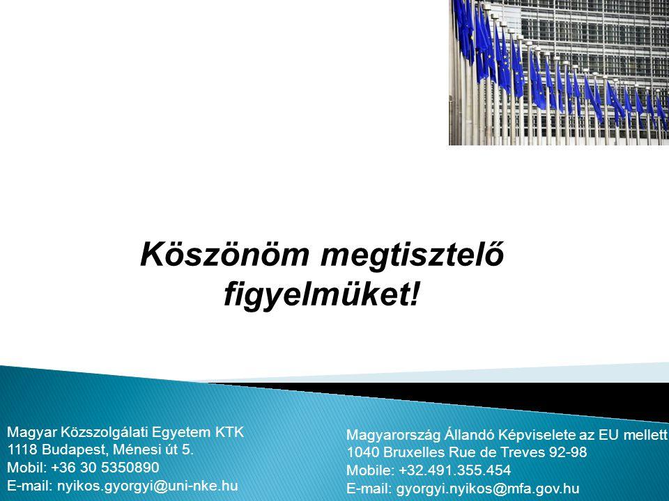 Köszönöm megtisztelő figyelmüket! Magyarország Állandó Képviselete az EU mellett 1040 Bruxelles Rue de Treves 92-98 Mobile: +32.491.355.454 E-mail: gy
