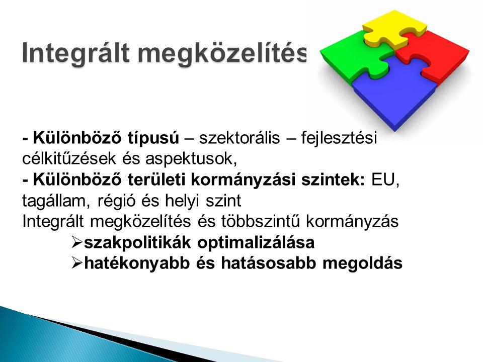 - Különböző típusú – szektorális – fejlesztési célkitűzések és aspektusok, - Különböző területi kormányzási szintek: EU, tagállam, régió és helyi szint Integrált megközelítés és többszintű kormányzás  szakpolitikák optimalizálása  hatékonyabb és hatásosabb megoldás
