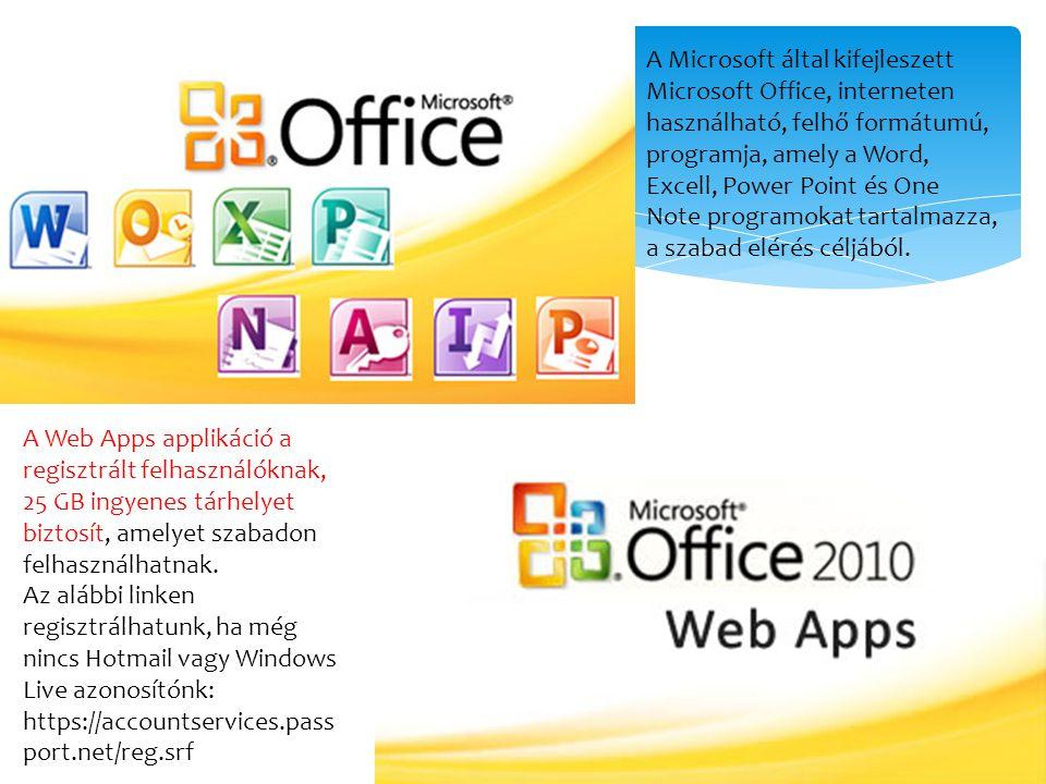 A Microsoft által kifejleszett Microsoft Office, interneten használható, felhő formátumú, programja, amely a Word, Excell, Power Point és One Note pro