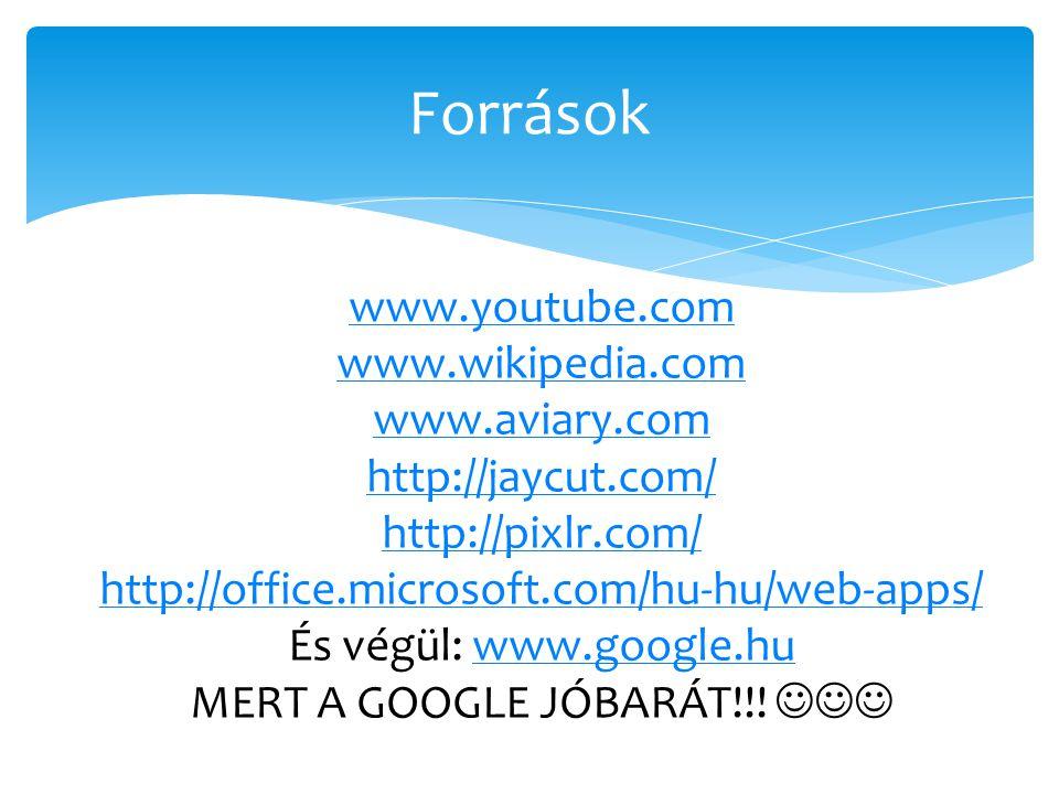 Források www.youtube.com www.wikipedia.com www.aviary.com http://jaycut.com/ http://pixlr.com/ http://office.microsoft.com/hu-hu/web-apps/ És végül: w