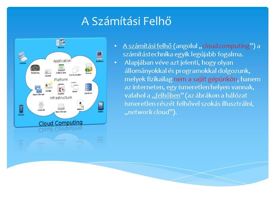 """• A számítási felhő (angolul """"cloud computing"""") a számítástechnika egyik legújabb fogalma. • Alapjában véve azt jelenti, hogy olyan állományokkal és p"""