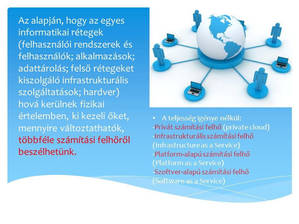 Az alapján, hogy az egyes informatikai rétegek (felhasználói rendszerek és felhasználók; alkalmazások; adattárolás; felső rétegeket kiszolgáló infrast