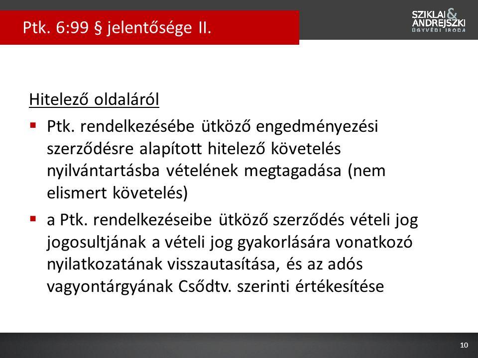Hitelező oldaláról  Ptk. rendelkezésébe ütköző engedményezési szerződésre alapított hitelező követelés nyilvántartásba vételének megtagadása (nem eli