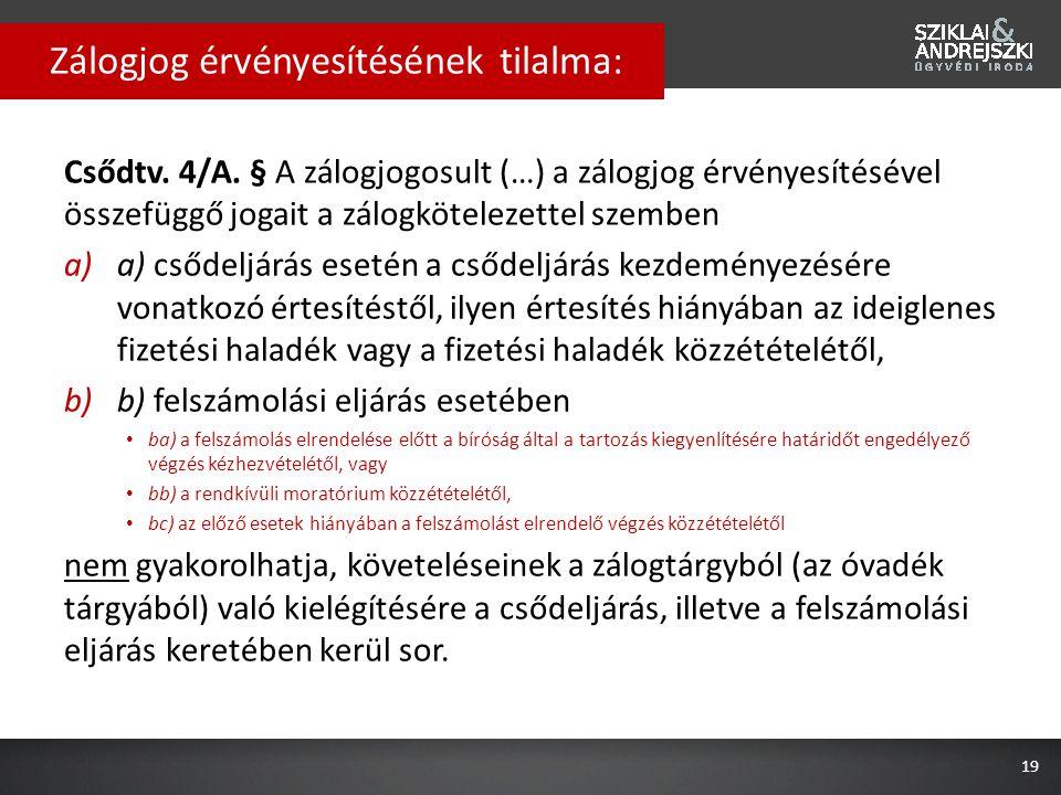 Csődtv. 4/A. § A zálogjogosult (…) a zálogjog érvényesítésével összefüggő jogait a zálogkötelezettel szemben a)a) csődeljárás esetén a csődeljárás kez