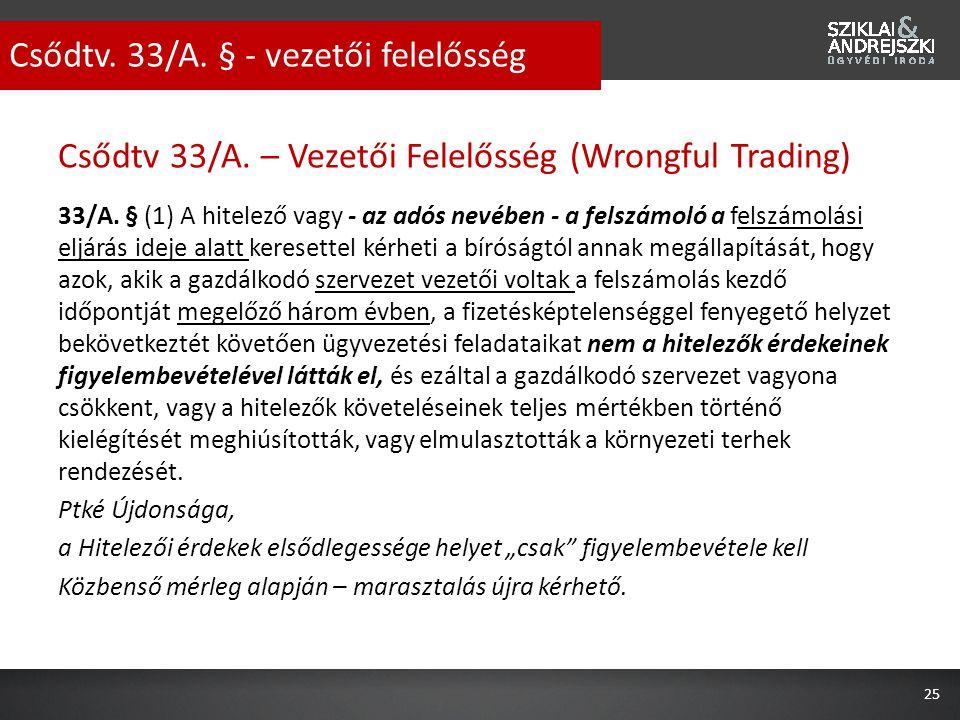 Csődtv 33/A. – Vezetői Felelősség (Wrongful Trading) 33/A. § (1) A hitelező vagy - az adós nevében - a felszámoló a felszámolási eljárás ideje alatt k