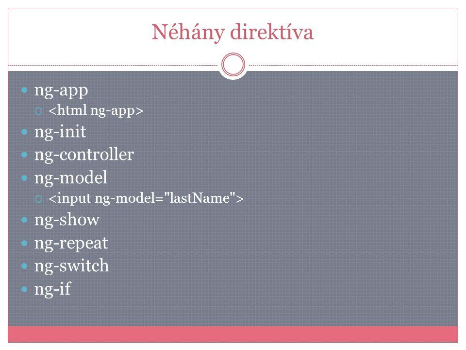 Néhány direktíva  ng-app   ng-init  ng-controller  ng-model   ng-show  ng-repeat  ng-switch  ng-if