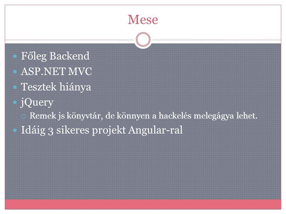 Mese  Főleg Backend  ASP.NET MVC  Tesztek hiánya  jQuery  Remek js könyvtár, de könnyen a hackelés melegágya lehet.  Idáig 3 sikeres projekt Ang