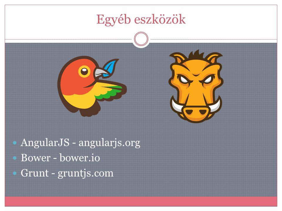 Egyéb eszközök  AngularJS - angularjs.org  Bower - bower.io  Grunt - gruntjs.com