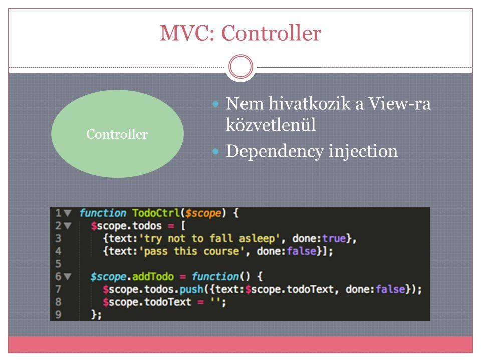"""MVC: Model Model  Nem hivatkozik a View-ra közvetlenül  Dependency injection  A függőségek a keretrendszer """" befecskendez be a kontrollerekbe  A $scope-ból érhető el (lényegében alkalmazás állapot)"""