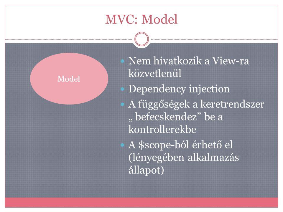 """MVC: Model Model  Nem hivatkozik a View-ra közvetlenül  Dependency injection  A függőségek a keretrendszer """" befecskendez"""" be a kontrollerekbe  A"""