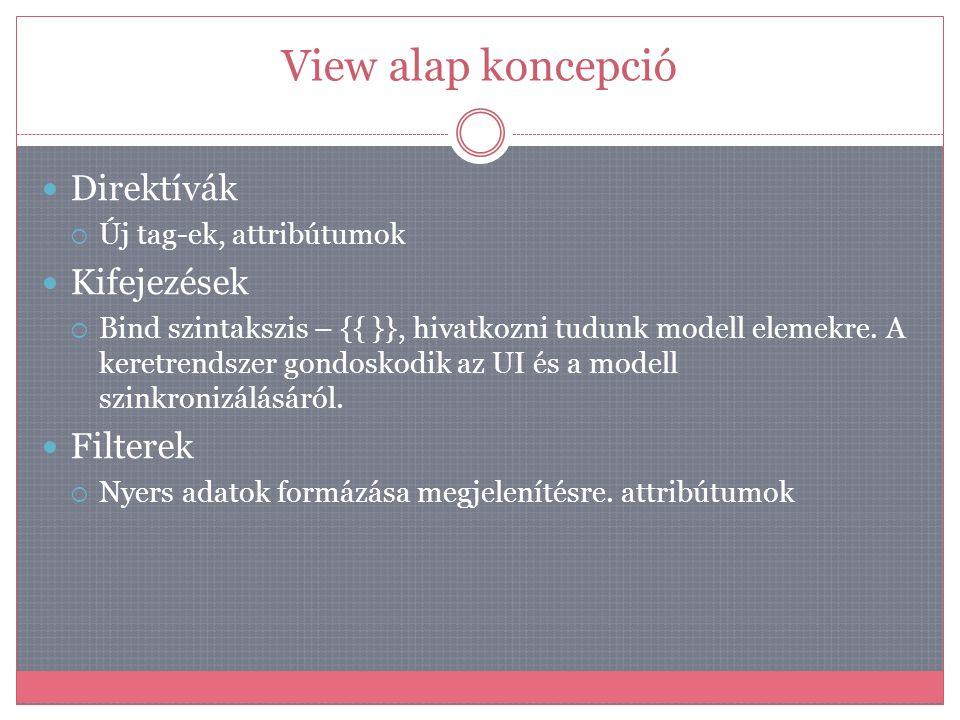Controller alap koncepció  AngularJS névtér $  Dependency injection  Minden függőséget a keretrendszer biztosít  $scope, $location, $window  Modell manipuláció  Új eseménykezelők