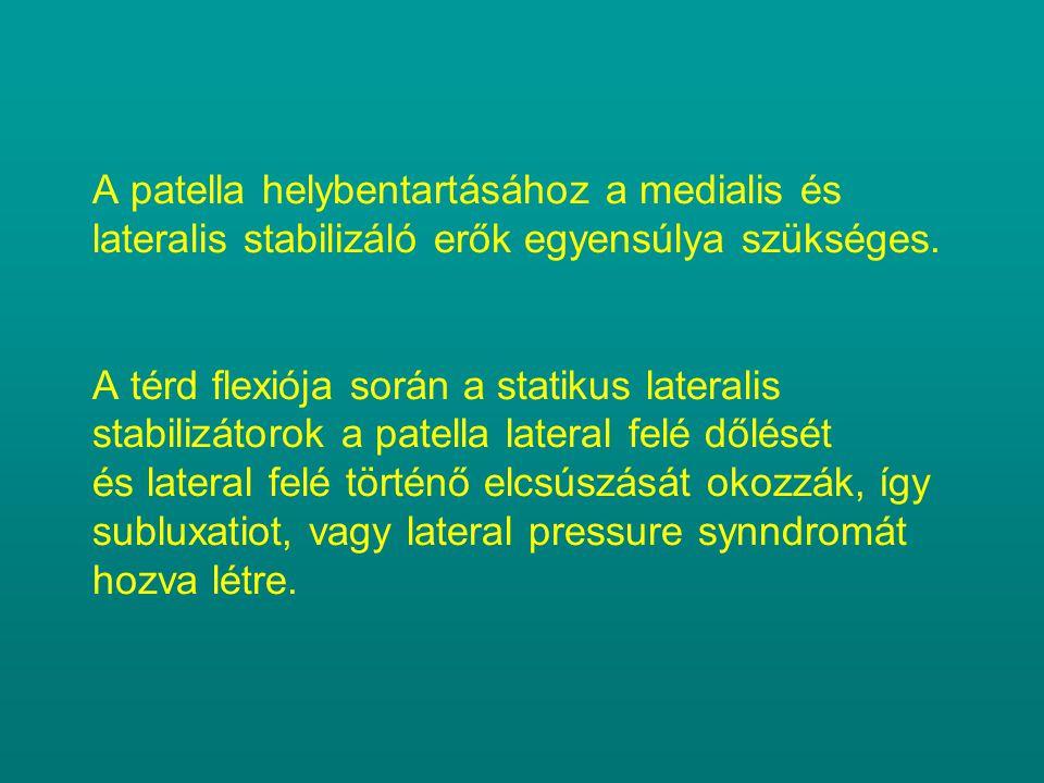 A patella helybentartásához a medialis és lateralis stabilizáló erők egyensúlya szükséges. A térd flexiója során a statikus lateralis stabilizátorok a