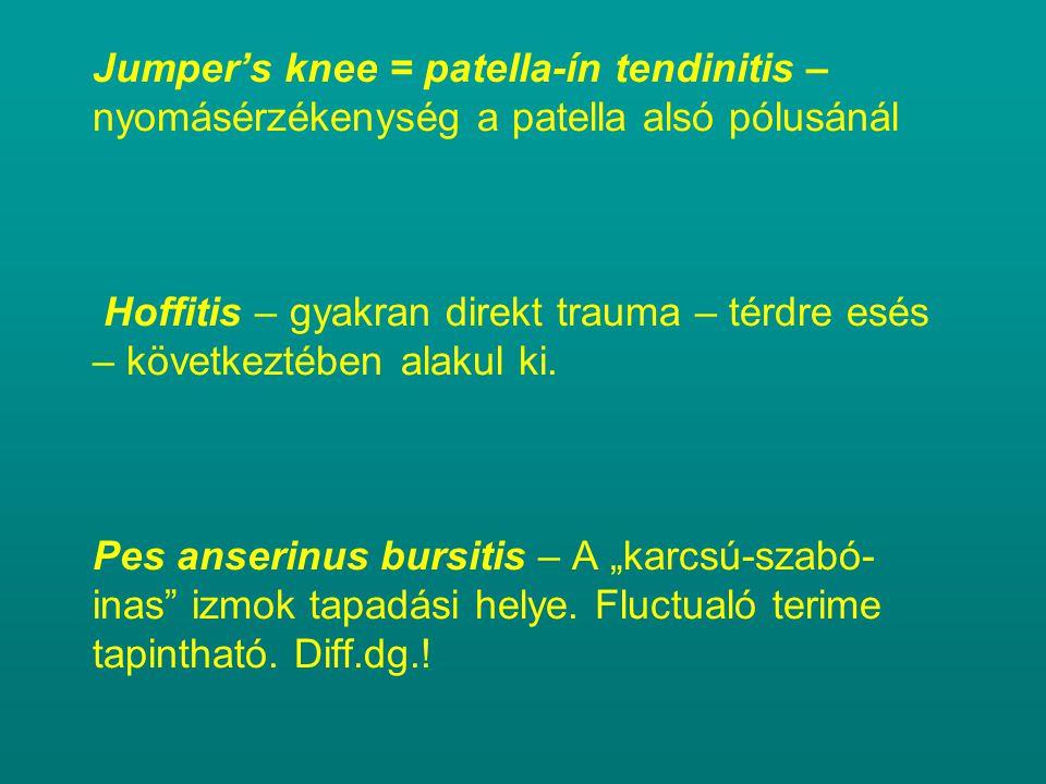 Jumper's knee = patella-ín tendinitis – nyomásérzékenység a patella alsó pólusánál Hoffitis – gyakran direkt trauma – térdre esés – következtében alak