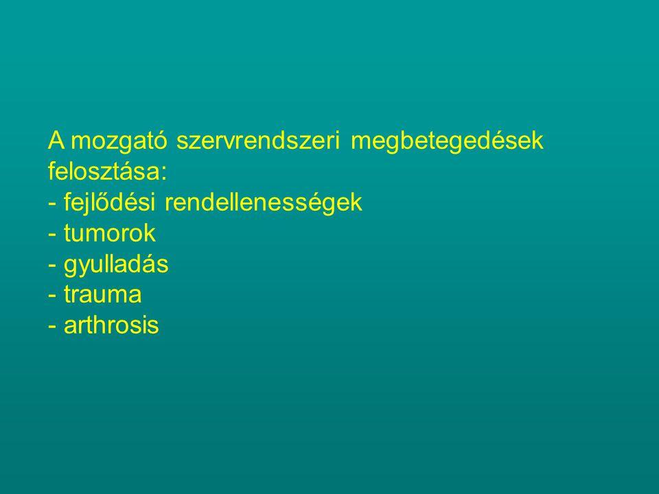 A mozgató szervrendszeri megbetegedések felosztása: - fejlődési rendellenességek - tumorok - gyulladás - trauma - arthrosis
