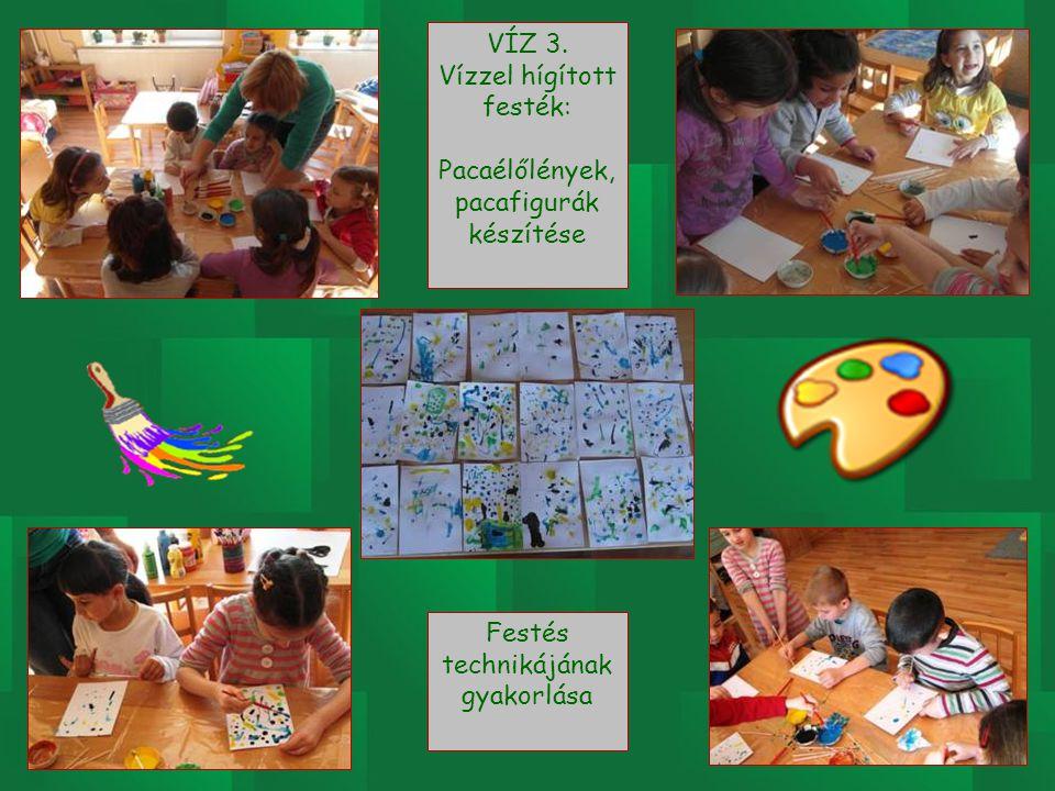 VÍZ 3. Vízzel hígított festék: Pacaélőlények, pacafigurák készítése Festés technikájának gyakorlása
