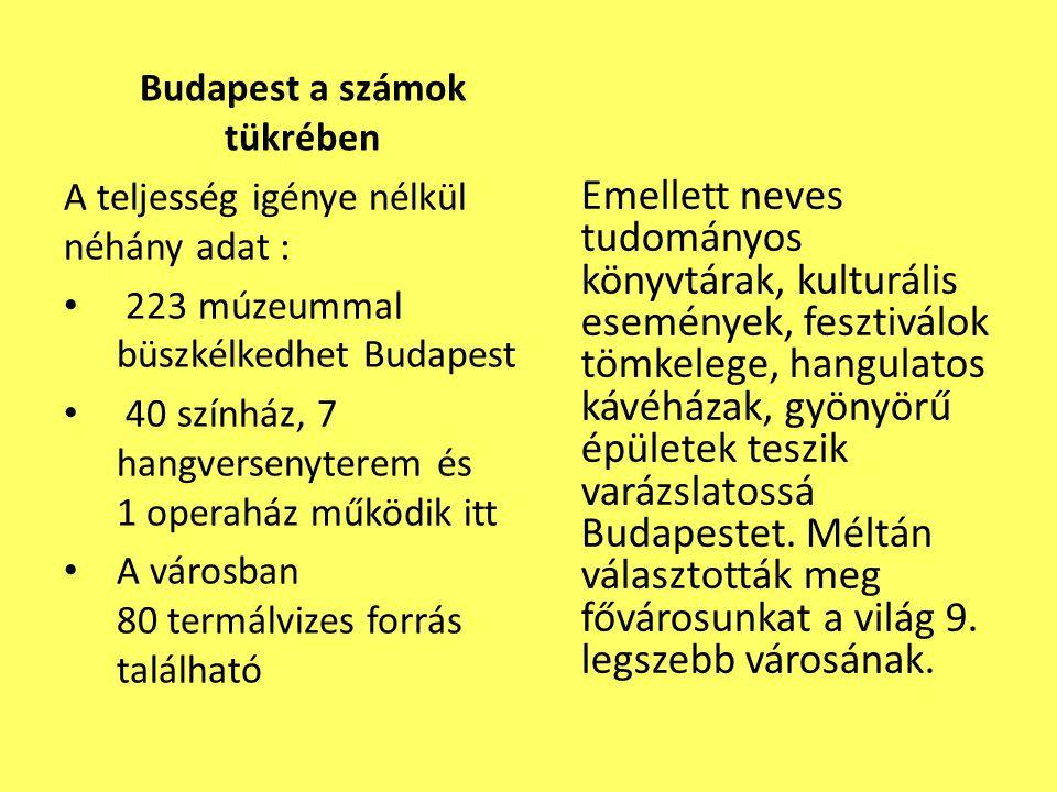 Budapest a számok tükrében Emellett neves tudományos könyvtárak, kulturális események, fesztiválok tömkelege, hangulatos kávéházak, gyönyörű épületek