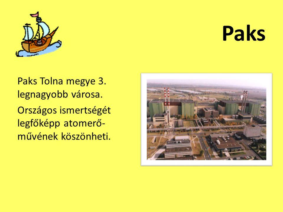 Paks Paks Tolna megye 3. legnagyobb városa. Országos ismertségét legfőképp atomerő- művének köszönheti.
